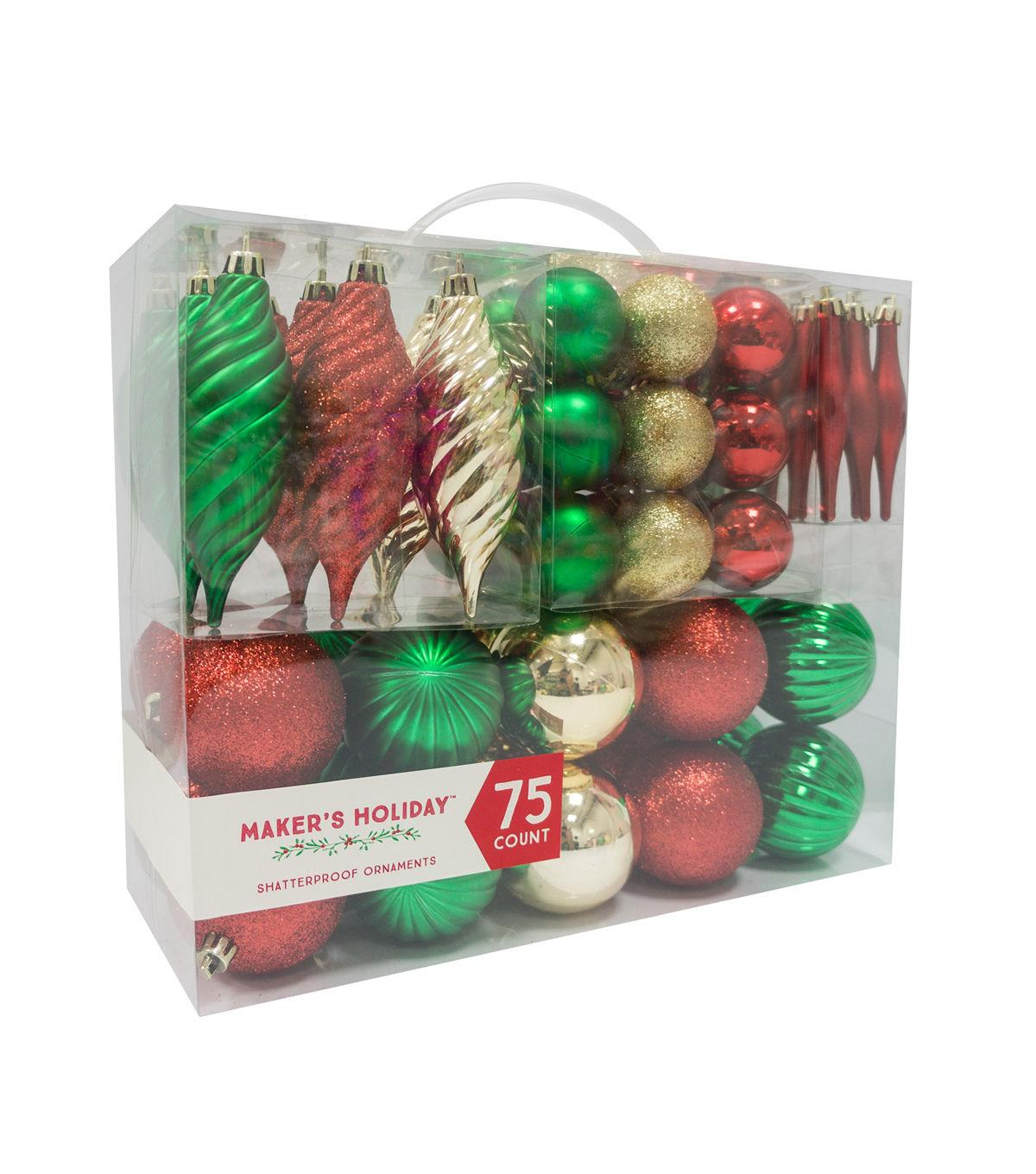 Maker's Holiday 75ct Shatterproof Ornaments-Red, Green & Gold