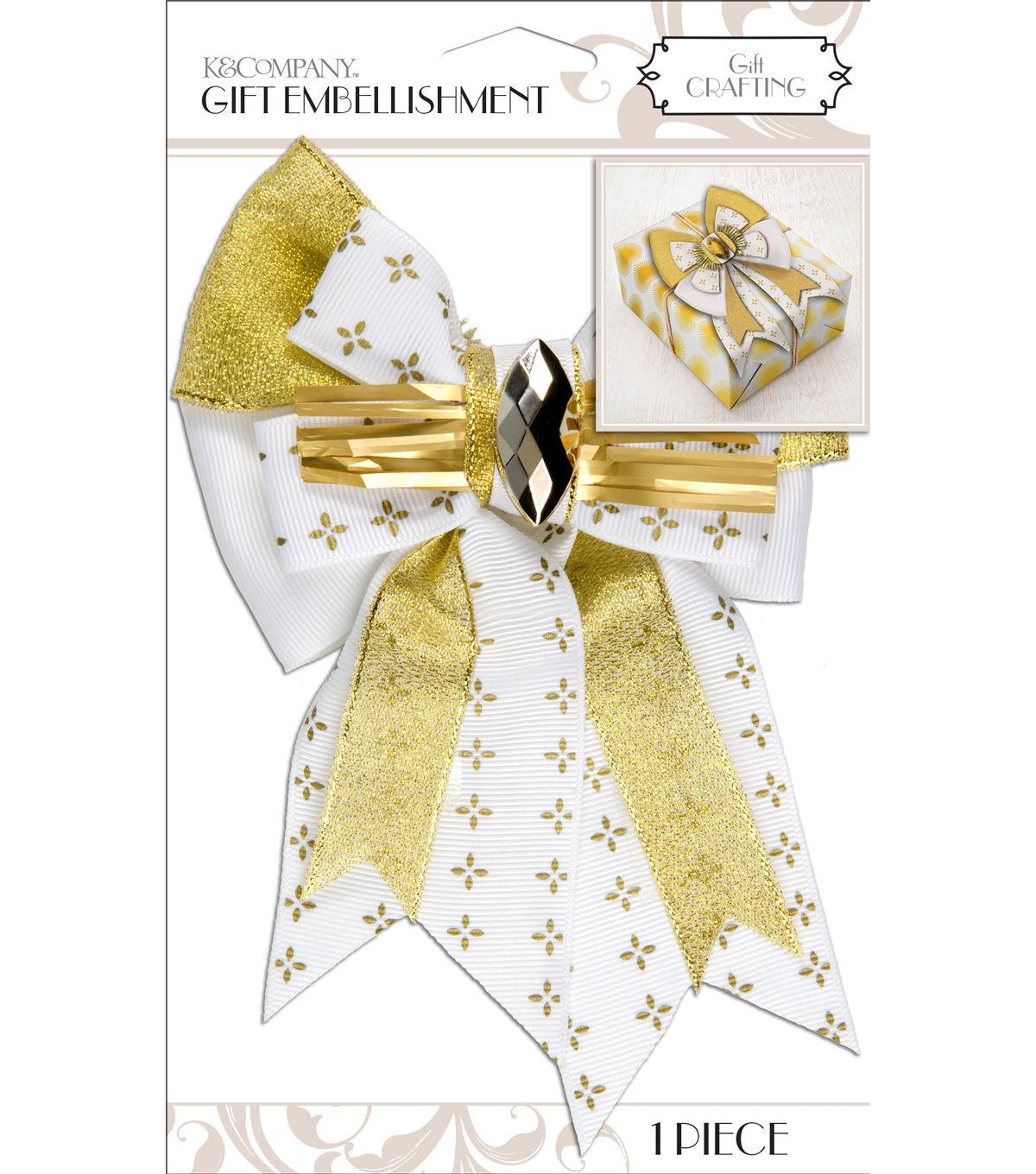 K&Company White And Gold Bow Gift Embellishment