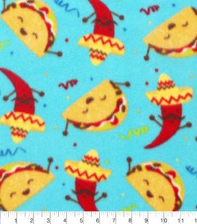 Blizzard Fleece Fabric-Fiesta Tacos And Peppers