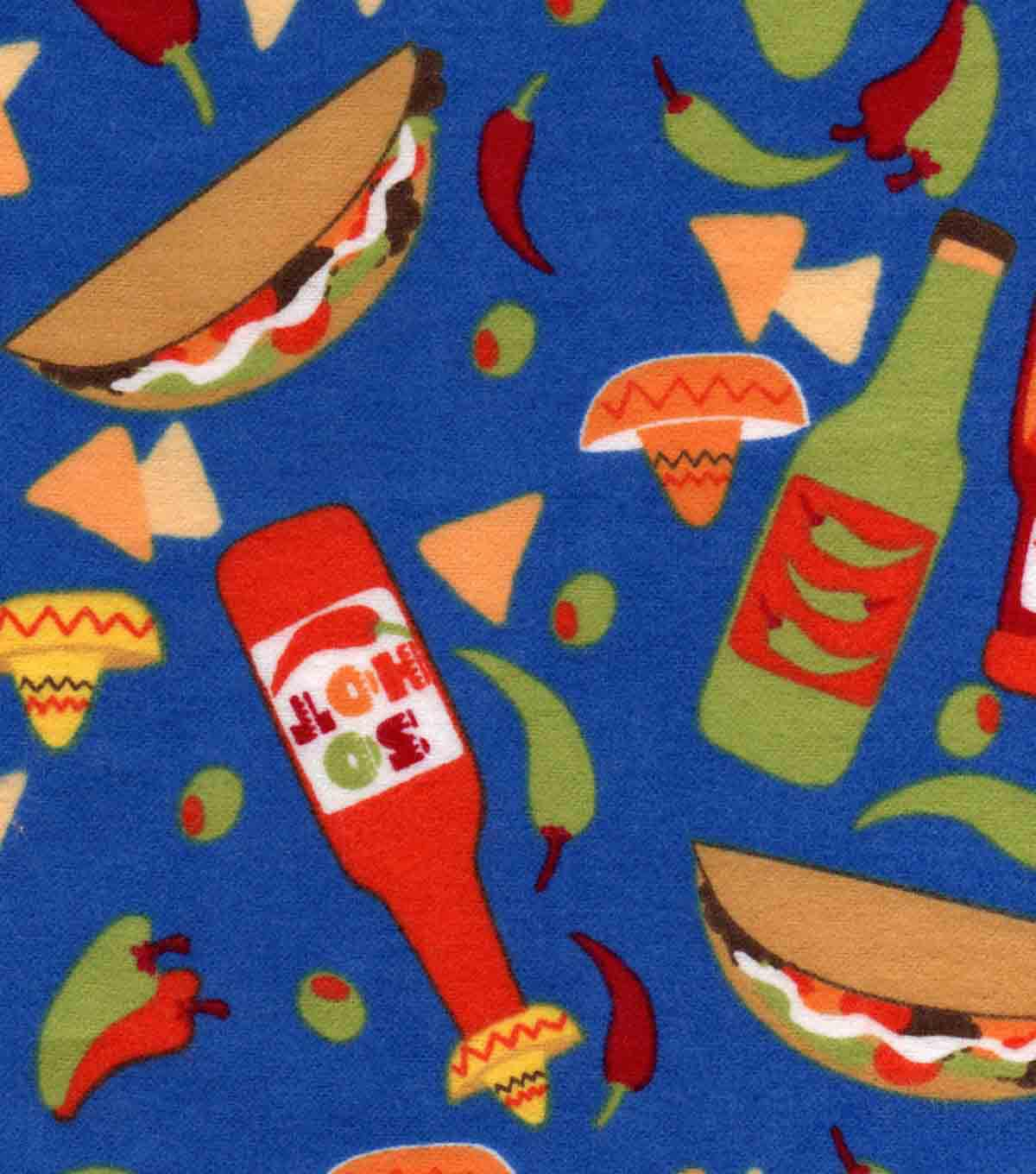 Snuggle Flannel Fabric 42''-So Hot Peppers & Tacos