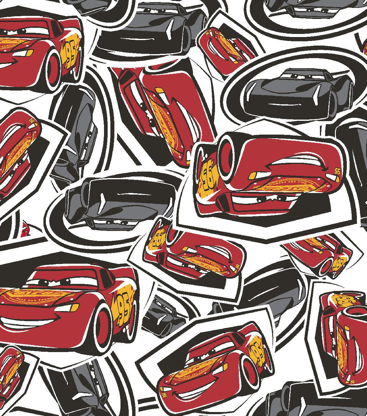 Disney® Cars 3 Flannel Fabric 42''-Tossed McQueen & Storm