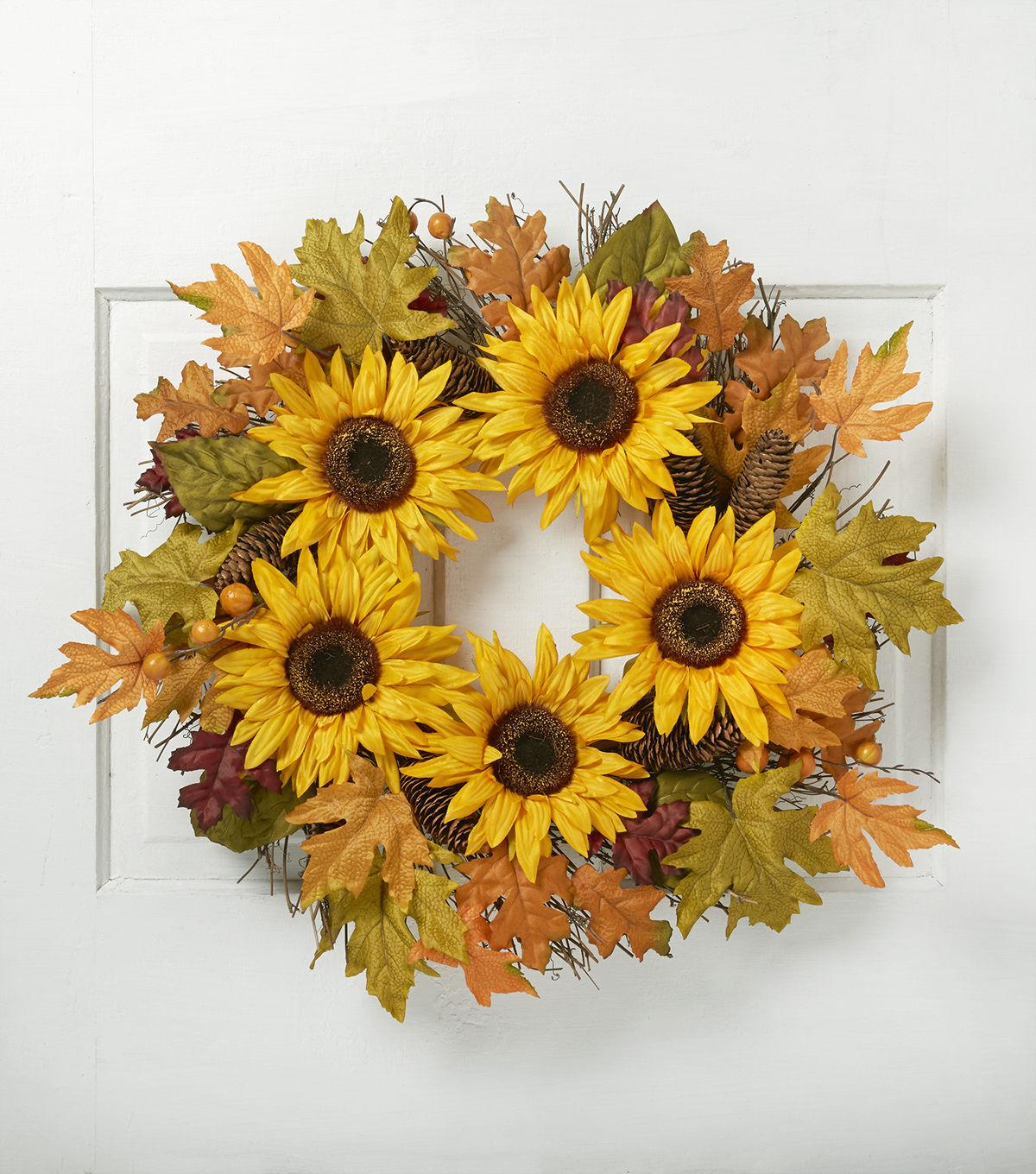 Blooming Autumn 22'' Sunflower, Berry & Pinecone Twig Wreath-Yellow