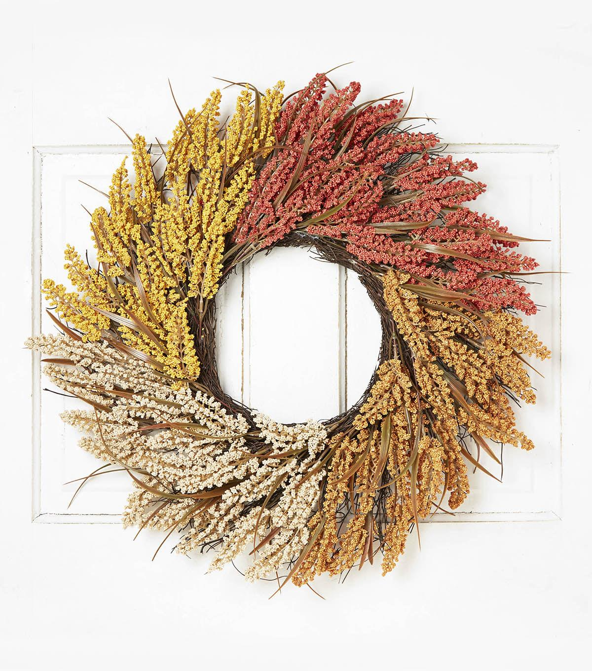 Blooming Autumn 23'' Heather & Twig Wreath