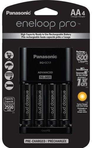 Panasonic K-KJ17KHCA4A Eneloop Pro Individual Cell Battery LED Light Indicator Charger with 4 AA Ni-MH Rechargeable Batteries