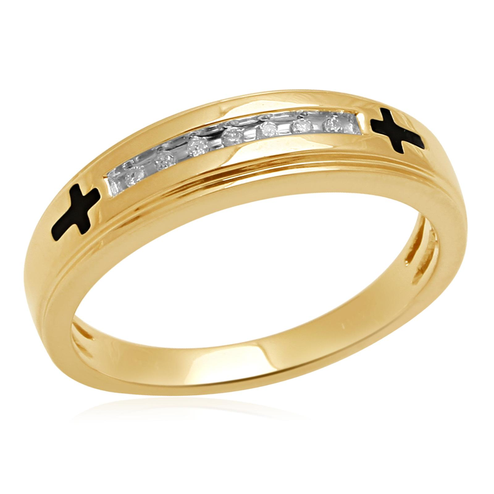 Eternal Treasures Diamond Accent Gold Over Silver Enamel Cross Men's Band - Size 10.5 Only
