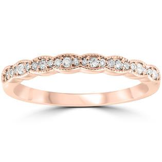 Pompeii3 1/5 cttw Diamond Stackable Womens Wedding Ring 14k Rose Gold