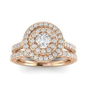 SK Jewel,Inc 1.00ctw Diamond Bridal Set in 10k Rose Gold