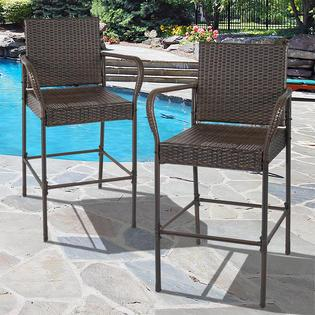 BestChoiceproducts Set of 2 Outdoor Brown Wicker Barstool Outdoor Bar Stool