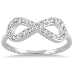 szul.com 1/10 Carat Diamond Infinity Ring in .925 Sterling Silver