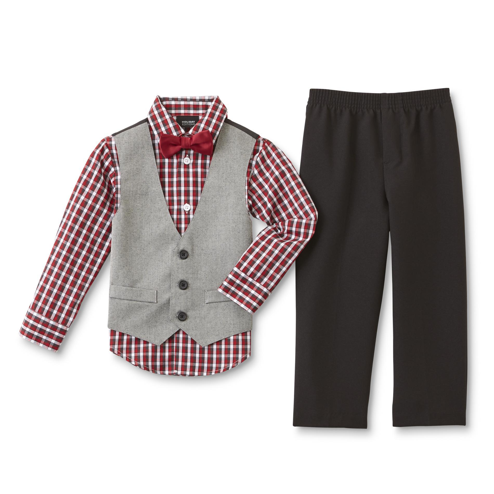 Holiday Editions Infant & Toddler Boys' Shirt, Pants, Vest & Bow Tie - Checkered