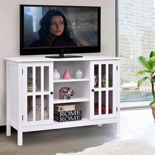 Goplus Wood TV Stand Storage Console Free Standing Cabinet Holds Up To A 45 TV White