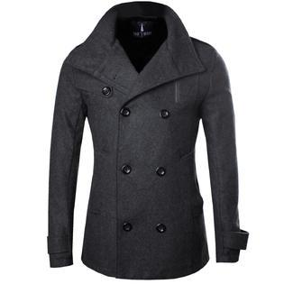 tomu0027s ware mens stylish fashion classic wool double breasted pea coat