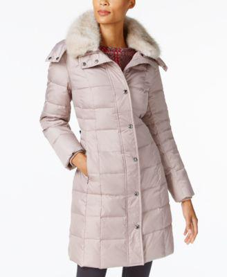 London Fog Faux-Fur-Collar Down Puffer Coat