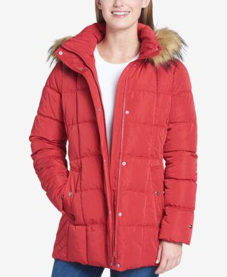 Tommy Hilfiger Faux-Fur-Trim Box-Quilted Coat