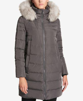 DKNY Faux-Fur-Trim Down Puffer Coat