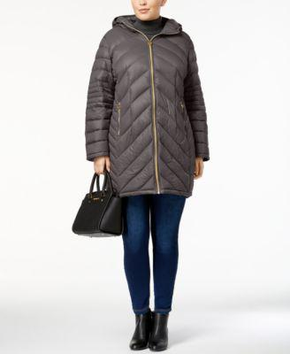 MICHAEL Michael Kors Plus Size Chevron Packable Down Puffer Coat, Created for Macy's