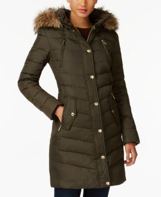 MICHAEL Michael Kors Petite Faux-Fur-Trim Down Coat