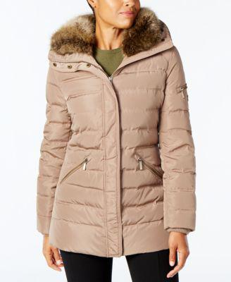 MICHAEL Michael Kors Plus Size Faux-Fur-Collar Down Coat