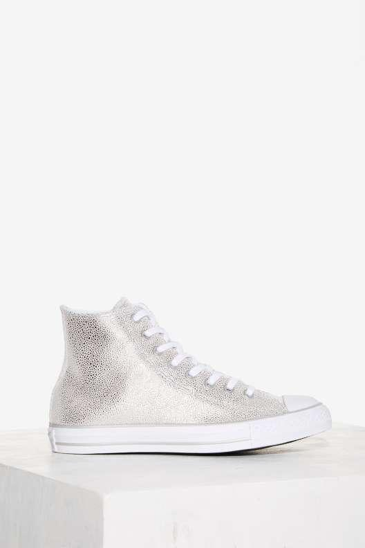 Converse Chuck Taylor All Star Stingray High-Top Leather Sneaker - Silver