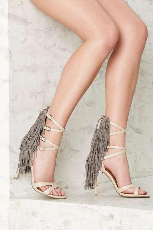 Nasty Gal String Your Heart Out Fringe Heel