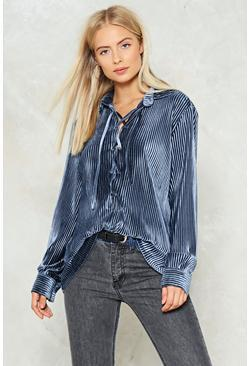 Pleated Velvet Lace Up Shirt