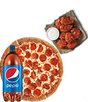 $14.99 1 MEDIUM 1-TOPPING PIZZA, 8 BONE-OUT WINGS & 2-LITER