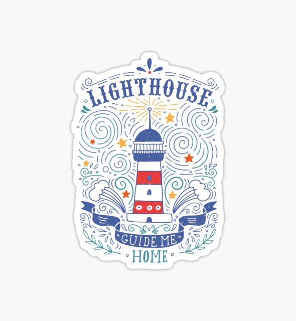 Lighthouse with a hand-lettering quote