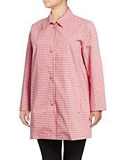RAFAELLA - Plus The Weekend Gingham Button-Down Topper