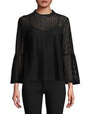 LORD & TAYLOR - Georgia Lace Bell-Sleeve Top