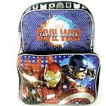 Captain America Civil War Superheros Backpack with Front Zip Pouch