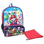 Super Mario Brothers 16 Inch Backpack with Insulated Lunch Pocket - Blue