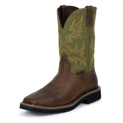Justin Men's 11 in. Cowhide Stampede Collection Boot, Waxy Brown