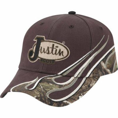Justin Twill Cap with Camo Flame Pieced Detail