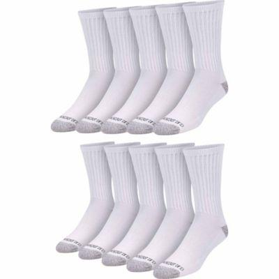Blue Mountain Men's Cushioned Crew Sock, Large, White, Pack of 10 Pairs