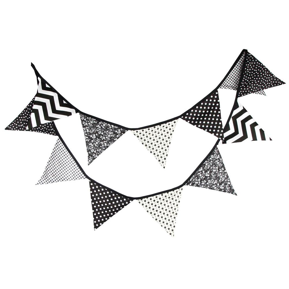 Handmade Halloween Black White Fabric Bunting Pennant Flags