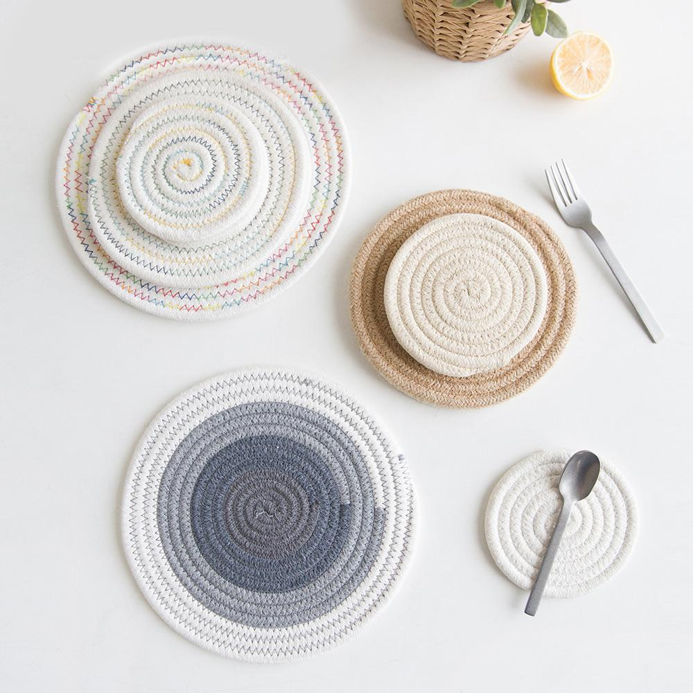 Soft Warm Cotton Thread Thicker Hand Made Insulated Placemats