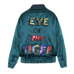 Letters Embroidered Eye Of The Tiger Bomber Jacket