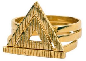 Gold Triangle 3 Pieces Vintage Ring Set