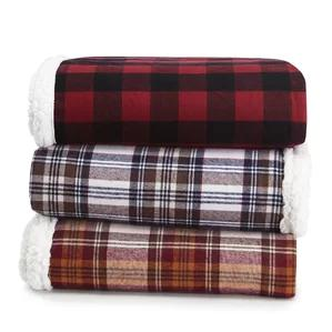 Edgewood Plaid Flannel Sherpa Throw Blanket by Eddie Bauer