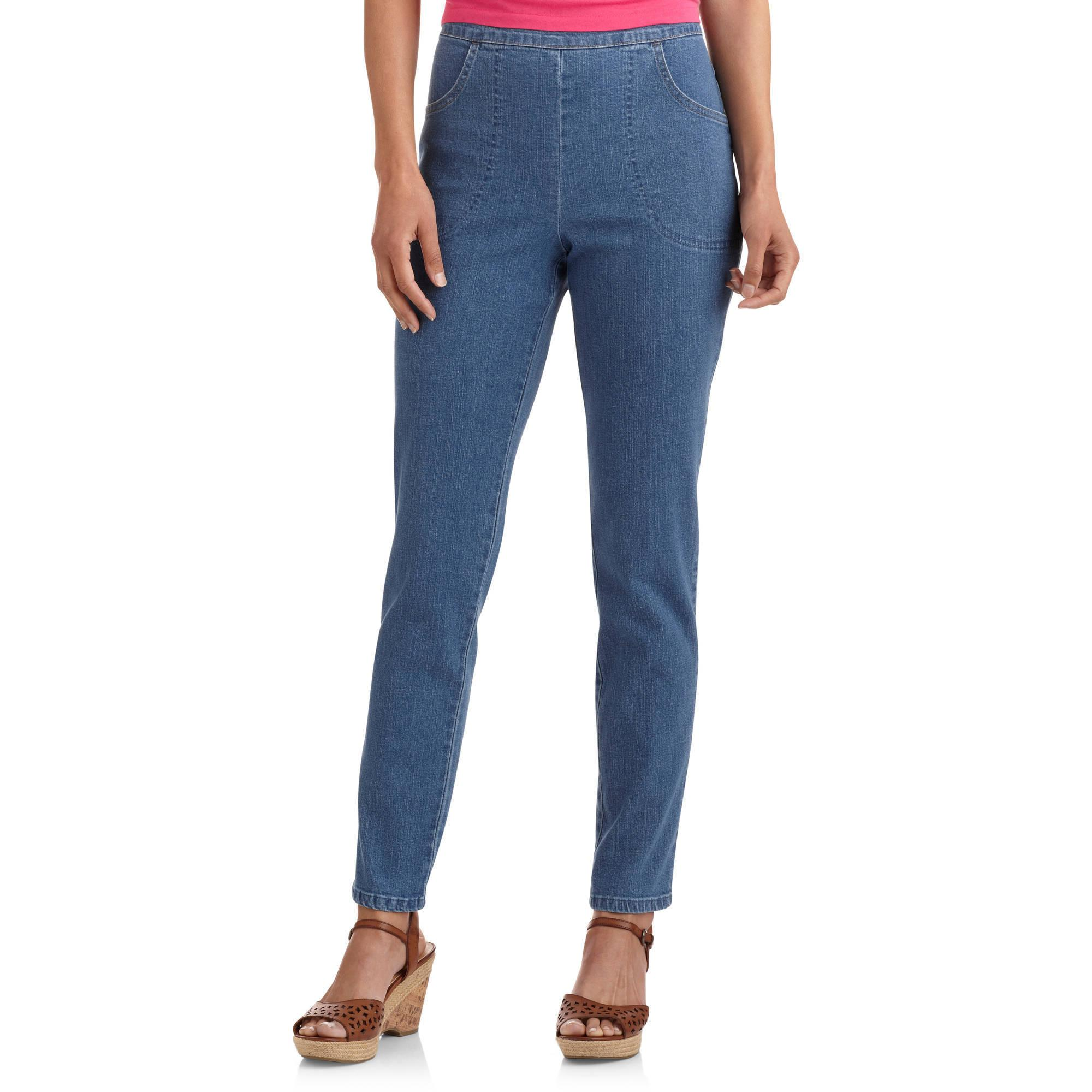 White Stag Women's Flat Front Back Elastic Stretch Denim Pants Available in Regular and Petite