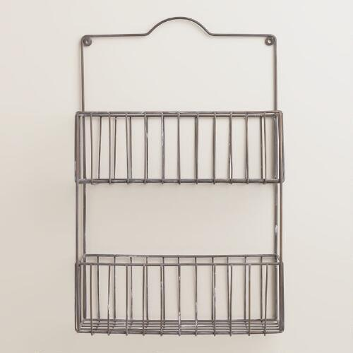 Galvanized Ashton 2-Tier Wall Basket