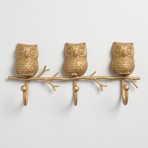 Gold Metal Owl 3 Hook Wall Storage