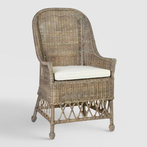Gray Rattan Adrie Dining Armchair