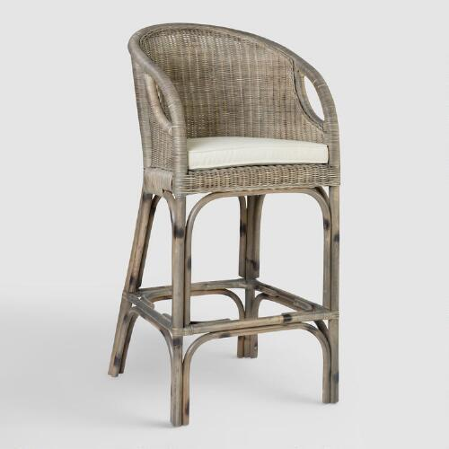 Gray Rattan Adrie Dining Barstool