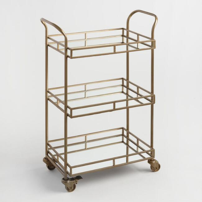 Gold Cole 3-Tier Rolling Bar Cart