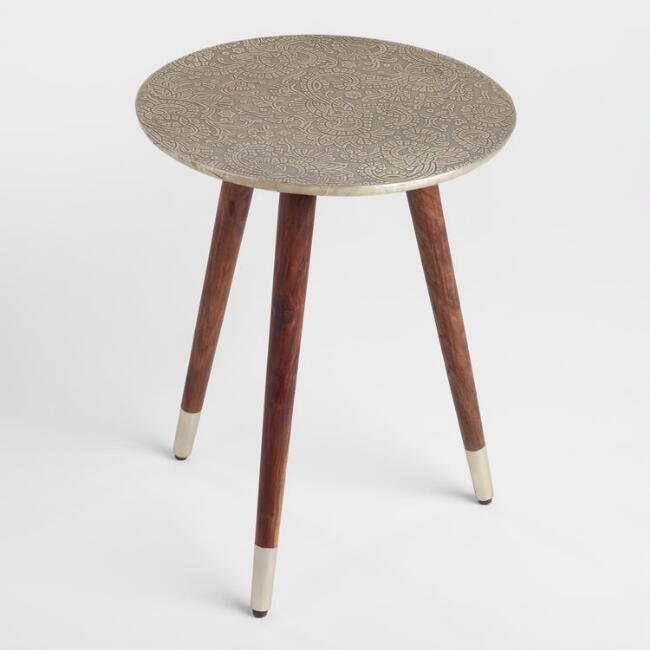 Embossed Azaria Round Accent Table