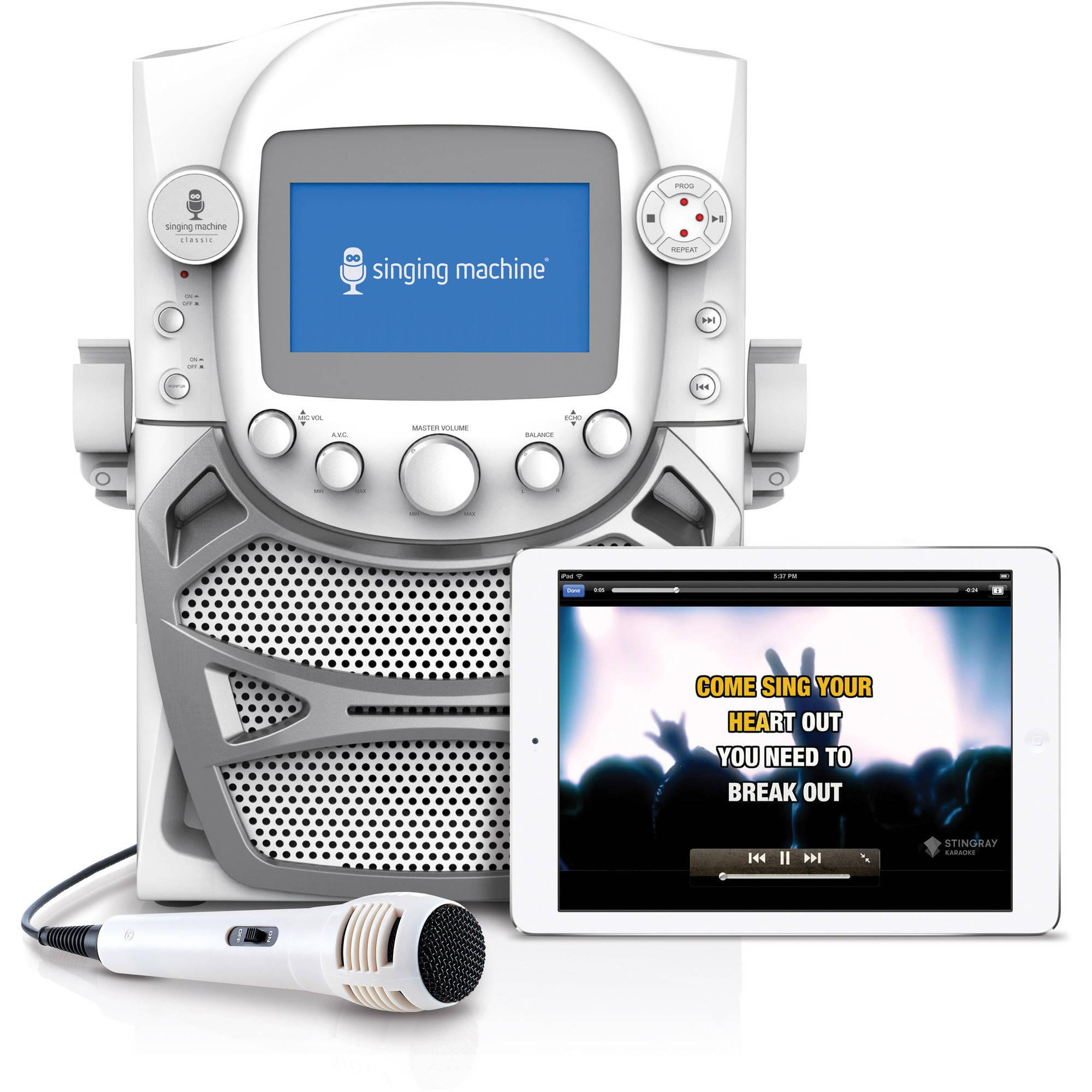 Singing Machine CD+G Karaoke Bluetooth System with Built-In 5 Color TFT Monitor and Microphone