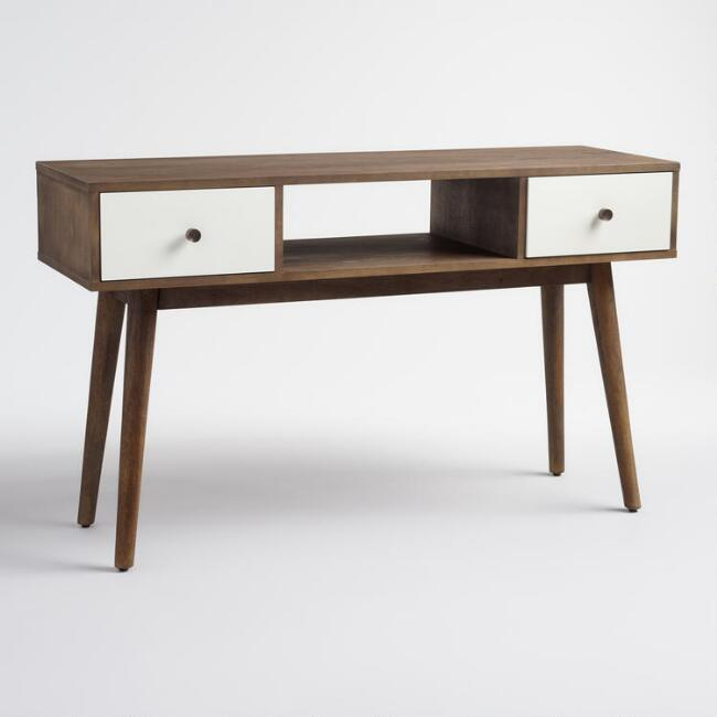 Wood and White Lacquer Console Table