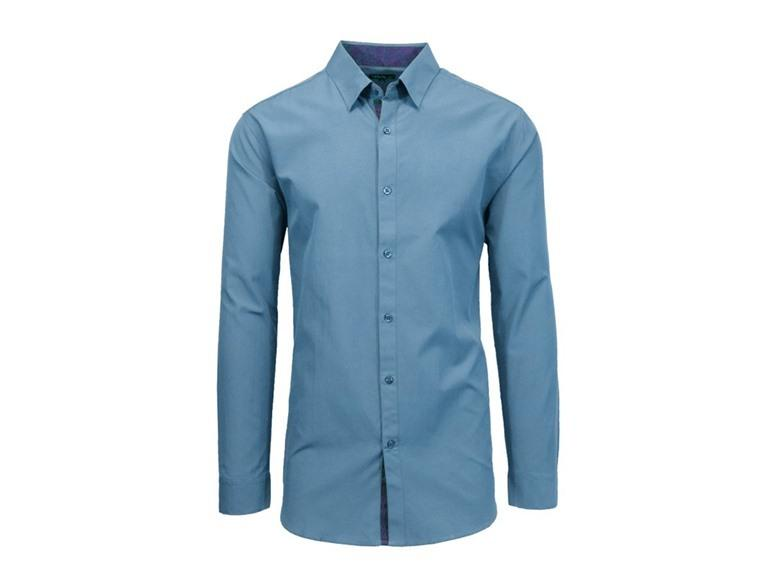 Men's Solid L/S Slim Fit Button Down