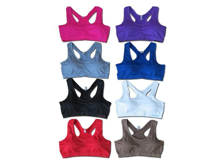 6Pk Solid Color Sports Bras